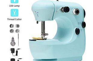 Nähmaschine anfänger, Foot Pedal Double Speed Control Machine with, Overlock Sewing Machine Household Tragbar Reisenahmaschine infach zu bedienen für Erwachsene und Kinder, Mini-Elektro-Stickmaschine